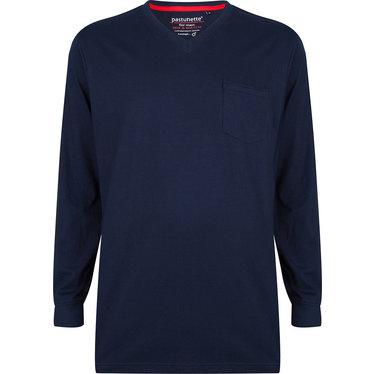 Pastunette for Men blauw katoenen heren pyjama top met lange mouwen met boord