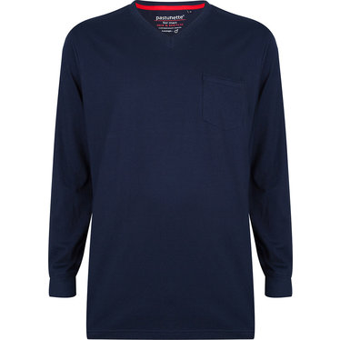 Pastunette for Men blue cotton long sleeved men's pyjama top with cuffs