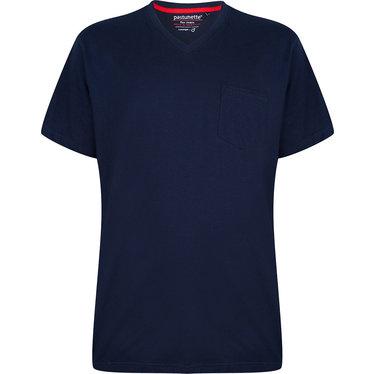 Pastunette for Men blauw katoenen heren pyjama top met korte mouwen