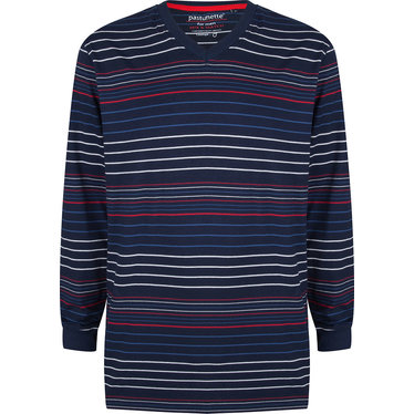 Pastunette for Men a modern red, white and blue multi-striped men's long sleeved pyjama top