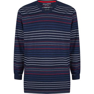 Pastunette for Men moderne, rood-wit-blauw gestreepte heren pyjama top met lange mouwen met boord