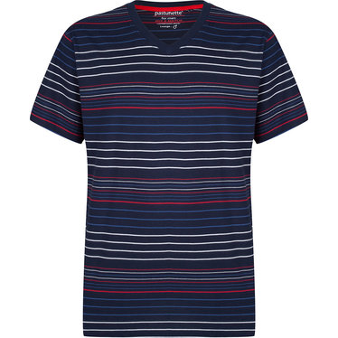 Pastunette for Men a modern red, white and blue multi-striped men's short sleeved pyjama top
