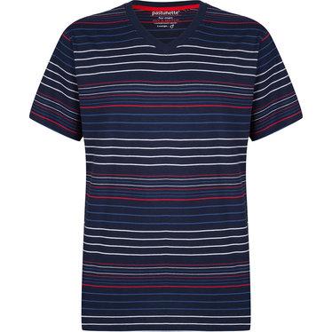 Pastunette for Men moderne, rood-wit-blauw gestreepte heren pyjama top met korte mouwen