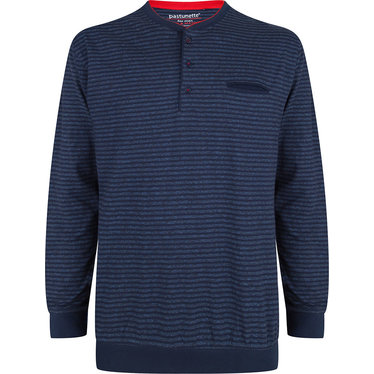 Pastunette for Men a sporty blue striped long sleeved pyjama top with buttons