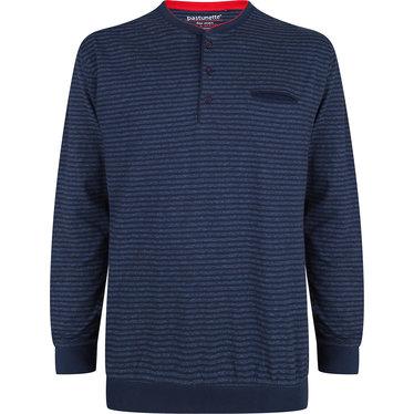 Pastunette for Men sportieve, blauw gestreepte pyjama top met lange mouwen en knoopjes