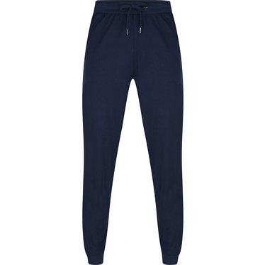 Pastunette for Men lange, blauwe, katoenen lange pyjama broek met boordjes voor heren