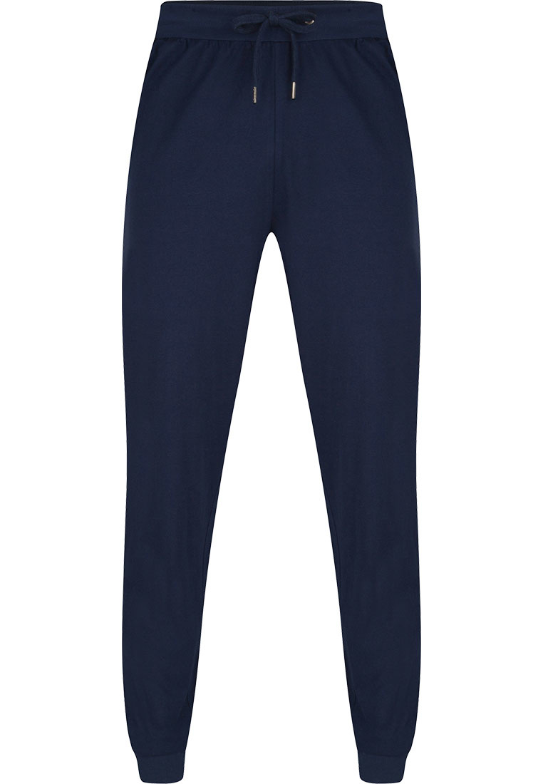 Pastunette for Men men's blue Mix & Match long cotton pyjama, lounge style pants with cuffs and an elasticated tie-waist