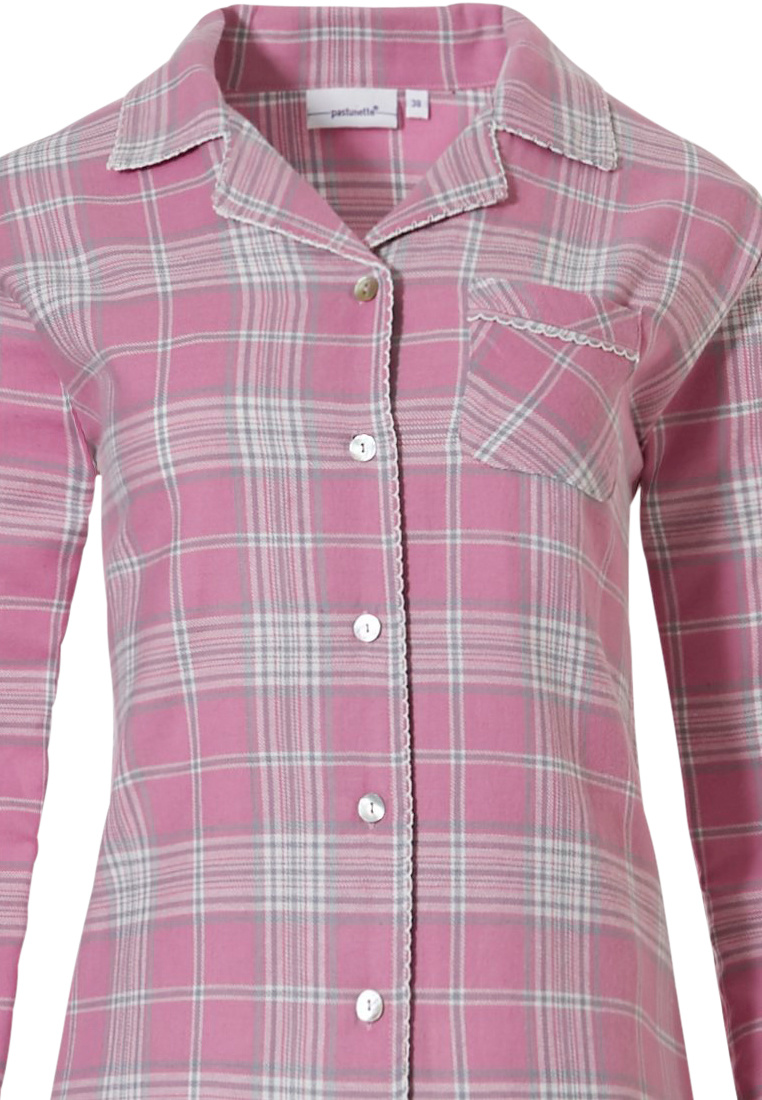 Pastunette 'pastel checks' pretty pink, full buttoned long sleeve 100% cotton flannel pyjama with pastel checks pattern, revere collar, chest pocket and matching 'pastel checks'  flannel pants
