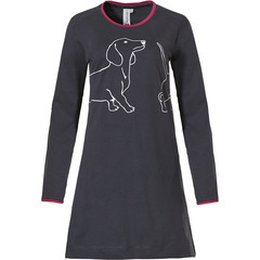 Rebelle long sleeve cotton nightdress 'abstract line art sausage dog'