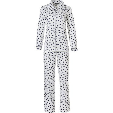 Pastunette Deluxe 'delightfully dotty'  off white & midnight blue long sleeve, full button, soft - luxe, cuddle satin pyjama with revere collar, chest pocket and long matching' delightfully dotty' pants