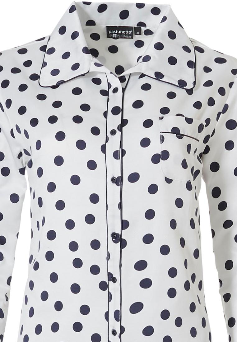 Pastunette Deluxe doorknoop pyjama met lange  mouwen 'delightfully dotty'