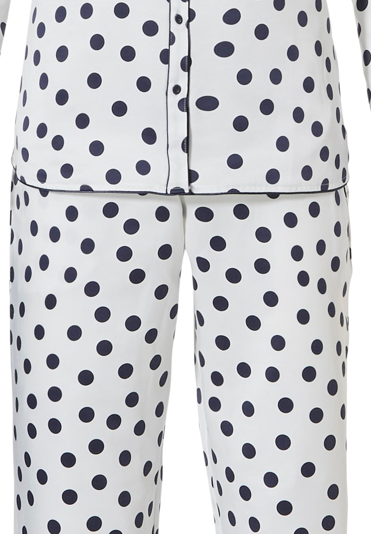 Pastunette Deluxe 'delightfully dotty'  off white & midnight blue long sleeve, full button, soft - luxury, cuddle satin pyjama with revere collar, chest pocket and long matching' delightfully dotty' pants