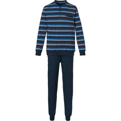 Robson mens cotton pyjama set with cuffs 'just stripes'