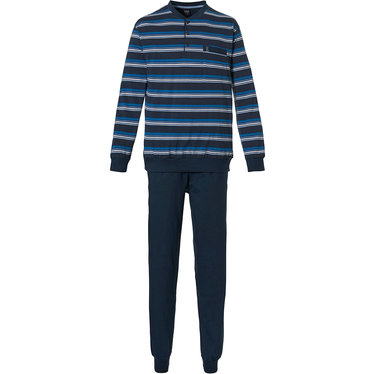 Robson 'just stripes' dark blue, white & cadet blue 100% cotton mens striped pyjama set with 3 buttons, chest pocket and dark blue cuffed pants