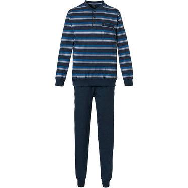 Robson 'just stripes' donkerblauwe, witte & cadet blauwe 100% katoenen gestreepte heren pyjama met 3 knoopjes aan de hals, borstzakje en donkerblauwe broek met boord