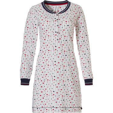 Rebelle 'leafs of lovehearts ♥' off -white, red & blue long sleeve cotton nightdress with 5 buttons and cuffs