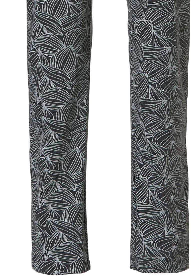 Pastunette  'sacred lotus flower' dark grey long sleeve ladies pyjama set with a beautiful 'sacred lotus flower' design on front and long darrk grey & white 'lotus petals' print design pants