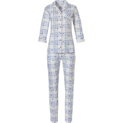 Rebelle full button cotton french terry pyjama 'hearts & checkered stripes'