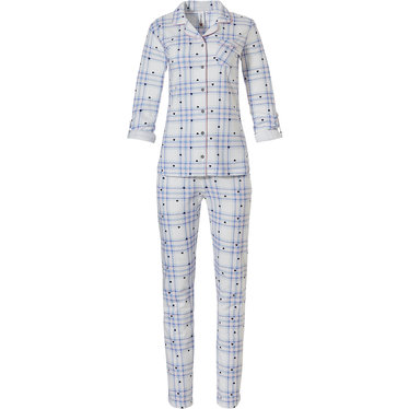 Rebelle 'hearts & checkered stripes' soft pink & pale blue long sleeve full button, cotton french terry, warm pyjama with revere collar, chest pocket, handy optional turn-up sleeves and long matching pants
