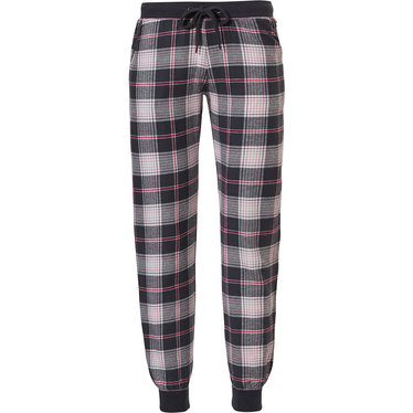 Rebelle 'trendy checks' dark grey & pink long cotton flannel pants Mix & Match pants with a dark grey ribbed elasticated tie-waist and matching cool dark grey ribbed cuffs
