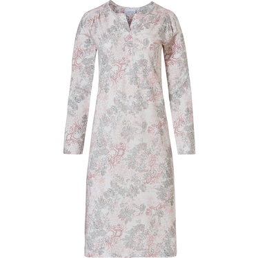 Pastunette 'vintage floral' off white, pink & light grey cotton -modal long sleeve nightdress with 3 buttons