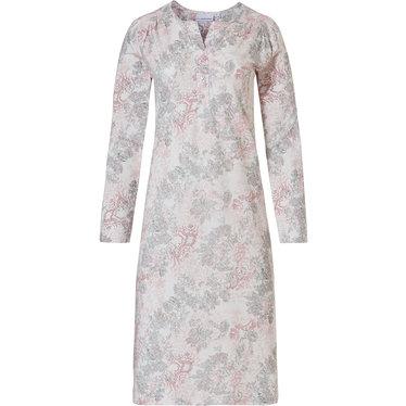 Pastunette vintage floral' off white, roze & lichtgrijs katoen modal nachthemd met lange mouwen en 3 knopen