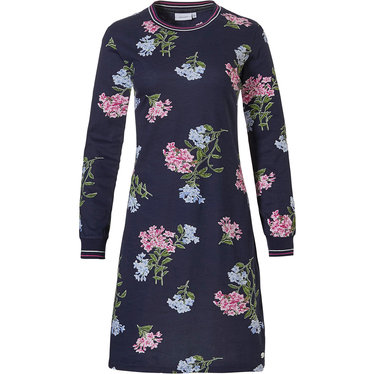 Pastunette 'winter flowers', dark blue, pretty floral pattterned ladies long sleeve 50% cotton - 50% modal nightdress with cuffs