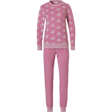 Pastunette 'mini gatsby fan' pink & off white long sleeve terry pyjama set with an all over 'mini gatsby fan' pattern on the top and long pink cuffed terry pants