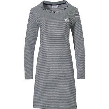 Pastunette 'fine stripes gatsby fan', dark blue & grey, ladies 100% cotton single jersey, long sleeve nightdress with 'pink gatsby fan' and pretty detailing around neckline