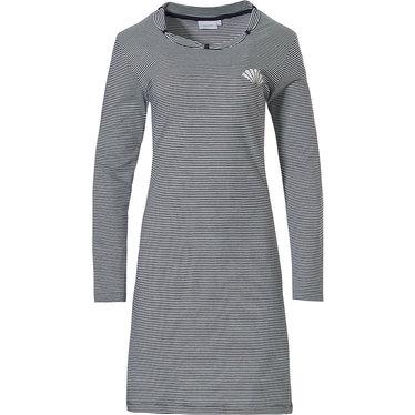 Pastunette 'fine stripes gatsby fan', donkerblauw & grijs, 100% katoen single jersey, dames nachthemd met lange mouwen, 'pink gatsby fan' en mooie details rond de halslijn