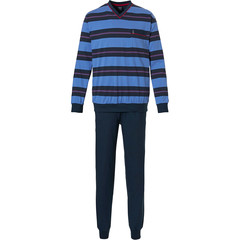 Robson mens cotton pyjama set with cuffs 'sporty stripes'