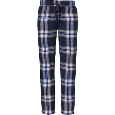 Rebelle 'denim blue checks' dark denim blue, pale pink & royal blue 100% cotton flannel Mix & Match long pants - Mix & Match your own style with Rebelle!
