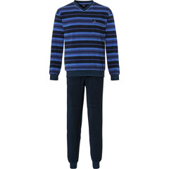 Robson mens cotton terry pyjama set with cuffs 'multi stripes'