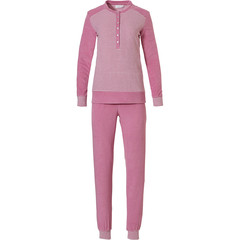 Pastunette pale pink long sleeved terry pyjama set 'fine stripes'