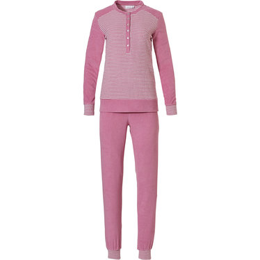 Pastunette 'fine stripes' pale pink & off-white long sleeved ladies terry pyjama with fine stripes, 6 buttons, cuffs and long pink terry pants with cuffs