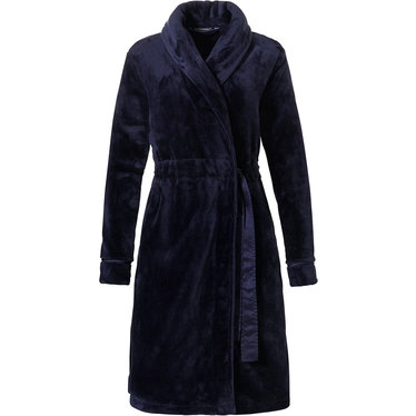 Pastunette Deluxe 'soft luxury' dark blue soft & warm, wrap-over fleece morninngown with shawlcollar, adjustable tie-waist belt and two pockets