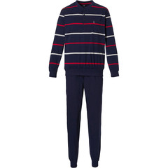 Robson mens cotton pyjama set with cuffs 'sporty rugby stripe'