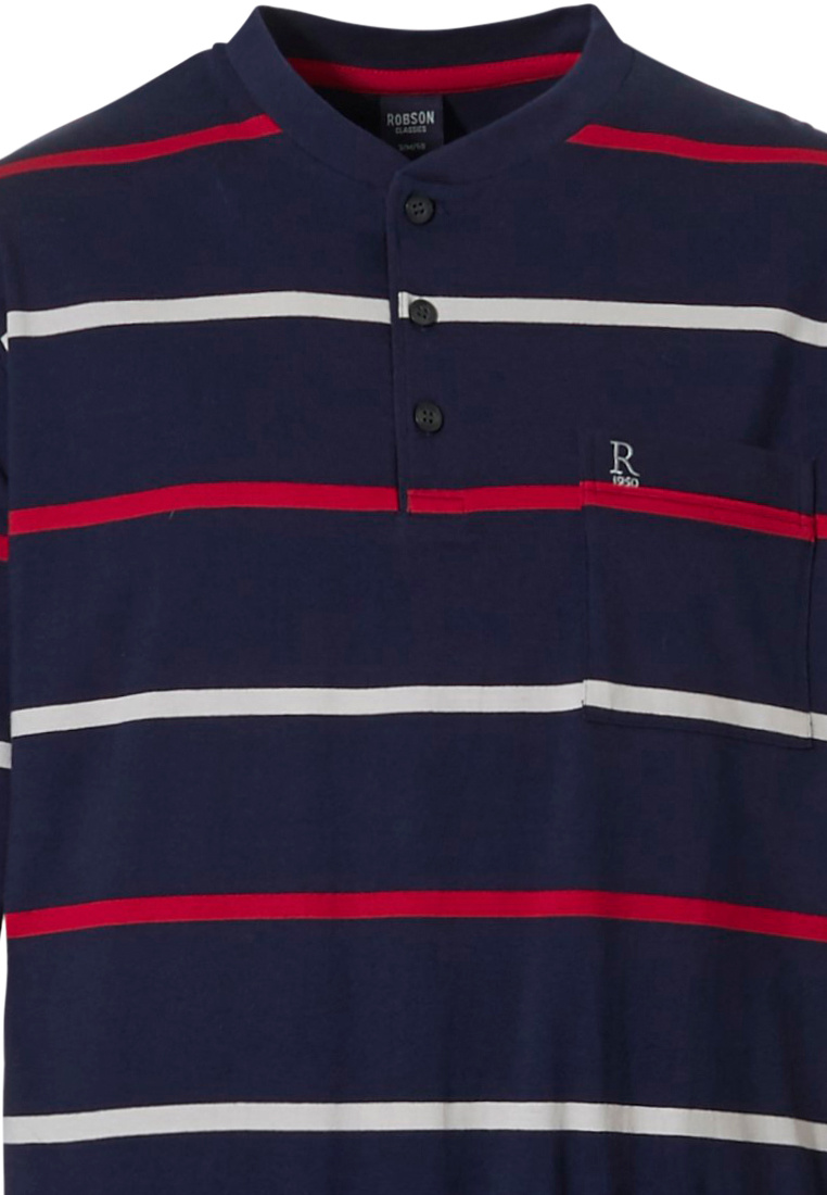 Robson 'sporty rugby stripe' dark blue, red & white, 100% cotton mens sporty striped pyjama set with 3 buttons, chest pocket and dark blue cuffed pants