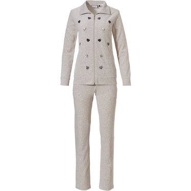Pastunette 'sequin hearts ♥  ♥  ♥' sandy brown, soft & comfy, nickyvelours , velvet homesuit with collar and zip, pockets, pretty sequin lovehearts ♥ and long sandy brown matching pants to finish it off nicely