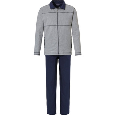 Pastunette for Men 'sporty style' light grey & dark blue mens comfy 'sporty style' cotton -polyster lounge stylle homesuit with zip, collar and long matching 100% cotton dark blue pants