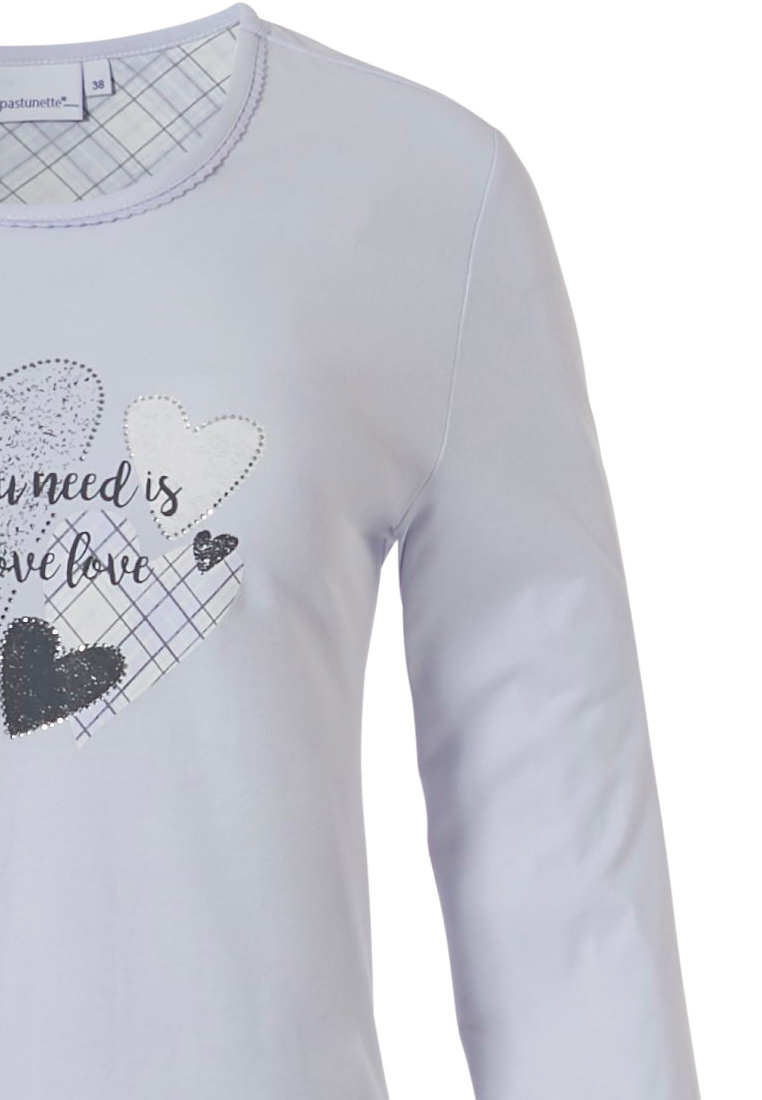 Pastunette 'all you need is lovehearts ♥'s ' pale winter blue 100% cotton long sleeve nightdress with a pretty lovehearts ♥  picture on front , 'all you need is love' text and checkered detail style trimmings