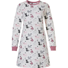 Rebelle long sleeve cotton nightdress 'dreamy kitty cats'
