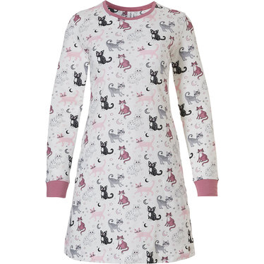 Rebelle 'dreamy kitty cats'  off-white & pink, long sleeve 100% cotton nightdress with an all over pattern of cute littlle 'dreamy kitty cats'