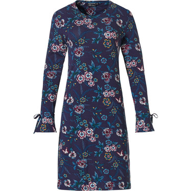Pastunette Deluxe 'floral passion' dark indigo blue & pink floral nightdress with pretty fan sleeves and dark indigo blue coloured ribbons