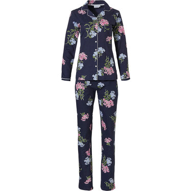 Pastunette 'winter flowers', dark blue, pretty floral pattterned ladies long sleeve 50% cotton - 50% modal full button pyjama  with matching long pants