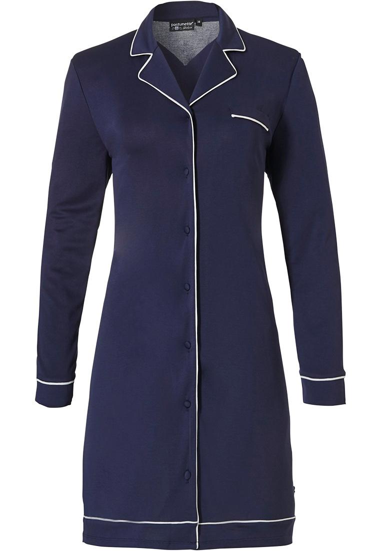 Pastunette Deluxe doorknoop nachthemd met lange mouwen 'delightful midnight blue'