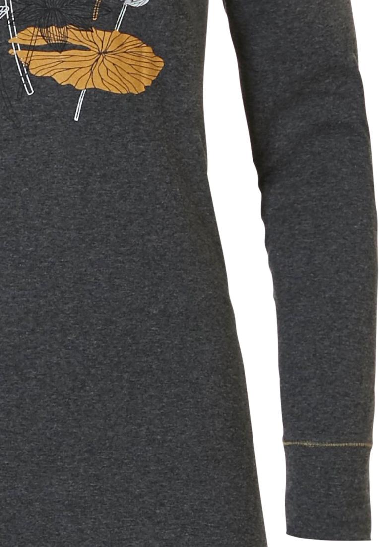 Pastunette 'sacred lotus flower' donkergrijs & mosterdgeel dames nachthemd met lange mouwen met een prachtig 'sacred lotus flower' design op de voorkant