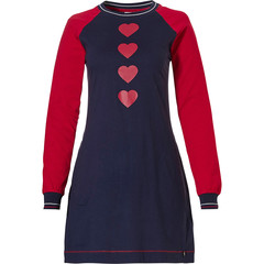 Rebelle long sleeve cotton nightdress 'line of lovehearts ♥♥♥'