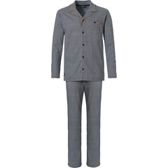 Pastunette for Men katoenen, doorknoop, heren pyjama 'fine little zigzags'