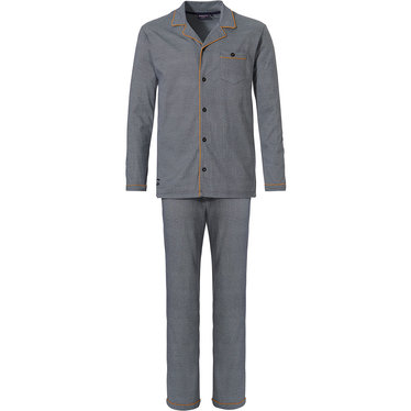Pastunette for Men 'fine little zigzags' grey long sleeve full button, cotton pyjama with 'fine little zigzags' pattern, revere collar, chest pocket with dark amber trimmings and long grey matching cotton pants